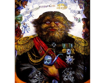 Russian Dog Faced Man, Famous Historic Hairy Circus Freak, Surrealist Sideshow Portrait ORIGINAL Painting by Ari Roussimoff Ready To Ship