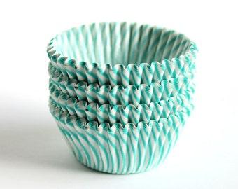 SALE: MINI Aqua Green Striped Cupcake Liners (100)