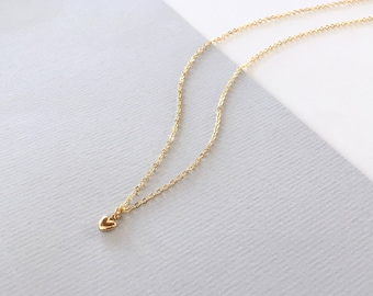 MINI LOVE HEART 14K gold filled Necklace dainty, gold layering necklace, minimalist, heart necklace, love, gift for her, delicate everyday