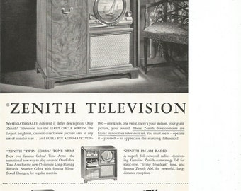 1949 Advertisement Zenith TV Television Console Round Screen AM FM Radio Turntable 40s 50s Interior Design Technology Wall Art Decor