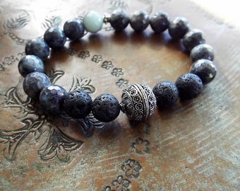 Bali Sterling Silver and Faceted Labradorite and Lava Stone Stretch Gemstone Boho Bracelet Gray Mens Womens