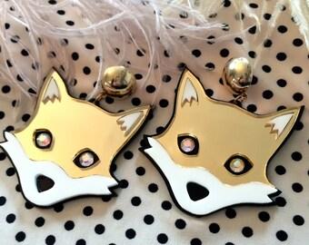 Mr. Fox Earrings, Laser Cut Acrylic, Plastic Jewelry