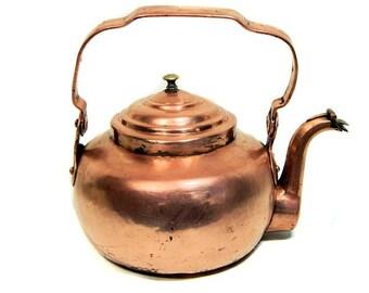Antique petite théière en cuivre bouilloire col de cygne bec verseur