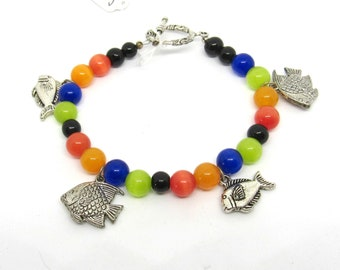 "Tropical Fish & Assorted Glass Cat's Eye Bead Bracelet 7.5"" (J1h5)"