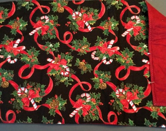 Table Runner (reversible) with Candy Canes, Holly & Red Ribbons
