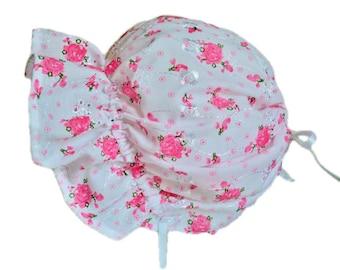 Baby Bonnet, Baby Sun Hat, Baby Girl Bonnet, Pink Or Purple Floral Bonnet, Eyelet Sun Bonnet, Ruffle Bonnet, Summer Bonnet, Toddler Hat