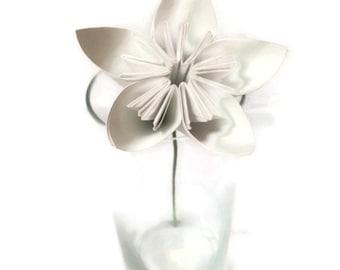 Solid White Stunner Kusudama Origami Paper Flower with Stem