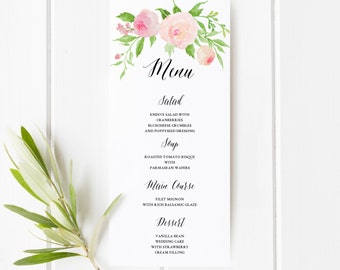 Floral wedding menu etsy printable floral boho wedding menu template floral wedding menu card watercolor flower flower mightylinksfo Choice Image