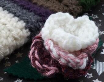 Romana - Crocheted Rose Hair Clip - White, Pink, and Dark Rose (SWG-HC-DWRO01)