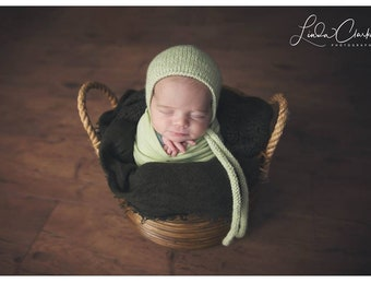 Newborn Girl Hat/ Sage Prop Hat/ Newborn Hat with Knit Ties/ Baby Girl Knit Hat/ Photography Prop/ Newborn Prop Hat/ Sage Girl Prop