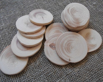 Set of 10 Blank Rustic Wood Disc Tree, Slices Spruce 5-6 cm (2-2 3/8 in) - Wedding Decor, DIY decorations