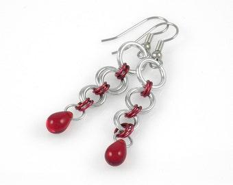 Red Teardrop Dangle Earrings