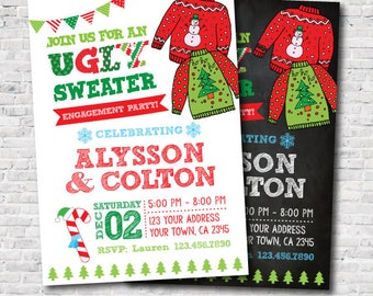 Ugly Sweater Engagement Party, Holiday Invitation, Personalized Invite, DIGITAL, you print