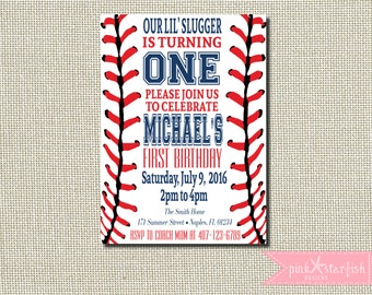 Baseball Invitation, Baseball Birthday Invitation, Baseball First Birthday Invitation, Red, Navy, Baseball, Sports Invitation, Digital