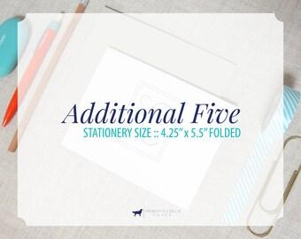 "Additional Set of 5 4.25"" x 5.5"" Folded Stationery Add-On"
