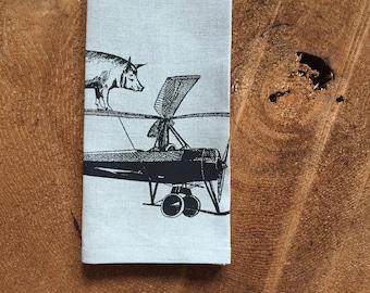 100% Linen Pig on a Plane Tea Towel, Eco Cloth Kitchen Towel, Hostess or Wedding Gift