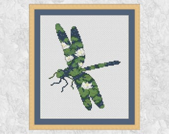 Dragonfly cross stitch pattern, waterlilies pond counted cross stitch chart, insect, flowers, lake, water lily, nature, wildlife, modern PDF