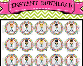 "Back to School Cuties  - INSTANT DOWNLOAD 1"" Bottle Cap Images 4x6 - 503"