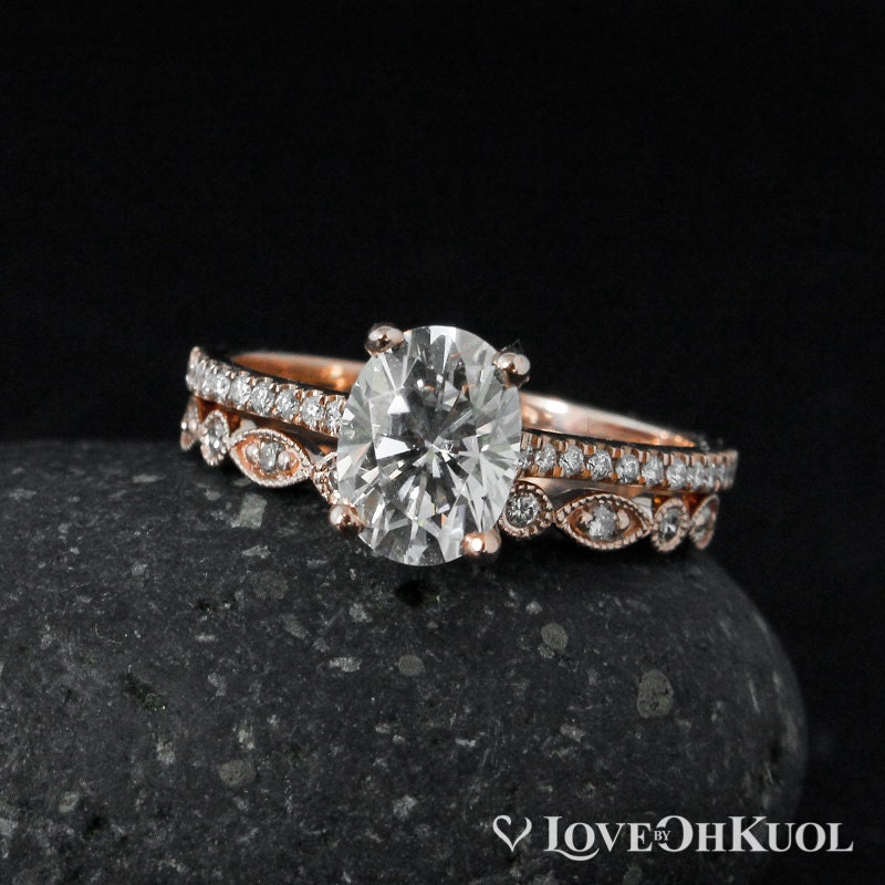 Forever One D-E-F Colorless Oval Solitaire Engagement Ring Set