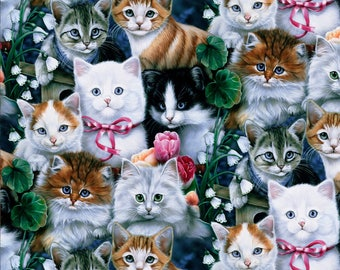 Cats and Clover - Jenny Newland for David Textiles - 100% Cotton Fabric - 1 Yard - more for one cut - B8