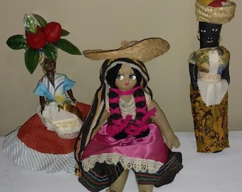 Three International Dolls, 2 from Jamaica 1 South America
