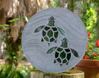 Baby Sea Turtles Hatchlings Stained Glass Stepping Stone #836
