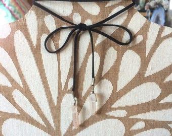 Handmade wrap around quartz crystal necklace / choker