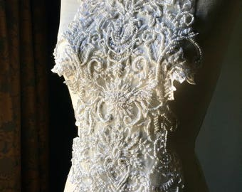 IVORY Applique Beaded for Illusion Gowns, Lyrical Dance, Ballet, Bridal, Costumes