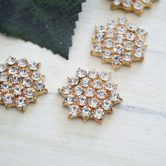 Gold Rhinestone Button for Invitations or Decoration with Clear Crystals