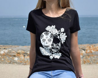 Women's white on black skulls
