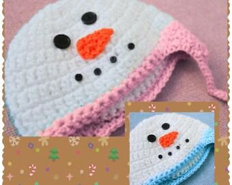 Christmas Snowman, Snowman hat, earflap hat, Christmas Holiday Hat, Frosty hat, Snowman Hat, Newborn Toddler Children's hat