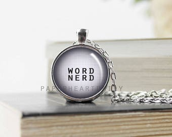 Word Nerd Necklace - Bookworm for Her - Word Nerd Charm - Book Jewelry - Jewelry for Readers - Book Lover Pendant - Read Pendant - (B0991)