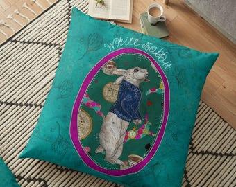 Follow the White Rabbit, Alice in Wonderland Pillow, White Rabbit Pillow, White Rabbit Cushion, White Rabbit Throw Pillow, Home Decor