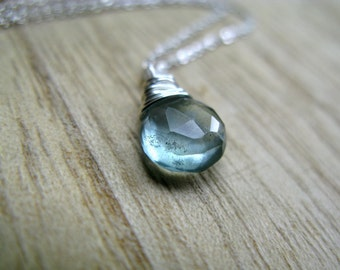 Moss Aquamarine Necklace - Wire Wrapped briolette In Sterling Silver March Birthstone, Ready To Ship