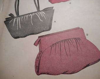 Vintage 1940's Butterick 3242 Pouch Style Hand Bags Sewing Pattern One Size