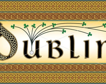 Irish city Dublin or County intricately rendered with celtic knots, original design