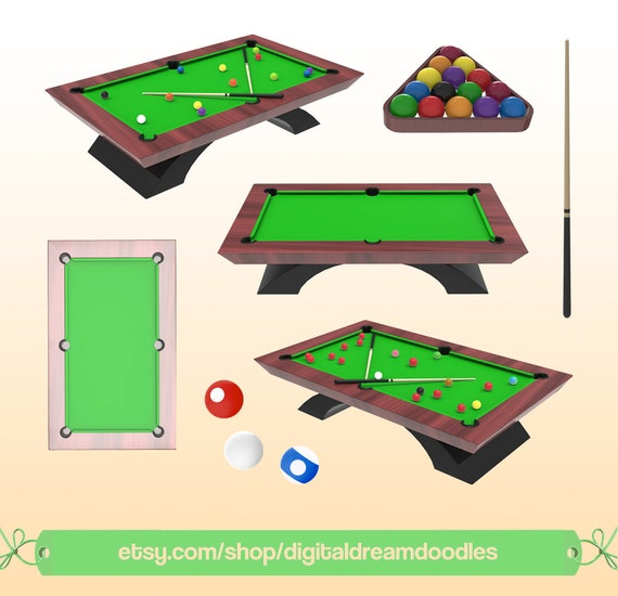 Pool Clipart Clip Art Billiard Snooker Cue Image Ball Graphic Table PNG Scrapbook Digital Dowload From