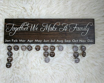 Family Birthday Disc Sign | Family Name Wall Art | Keepsake Gift