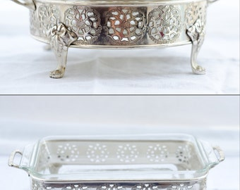 Silver Plated Pyrex - Anchor Hocking Pyrex Set - Openwork Rose Pattern - Round and Rectangular pieces - 70's Serving Ware
