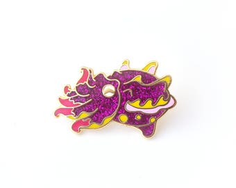 Flamboyant Cuttlefish Enamel Pin (hard enamel pin kawaii glitter pin lapel pin badge cute octopus jewelry cephalopod cloisonne backpack pin)