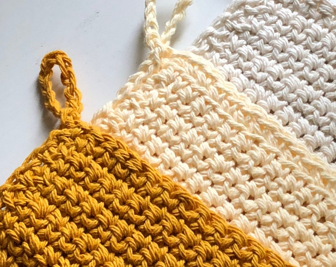 Featured listing image: Set of 3 Trivet, mustard yellow beige and off white chic Pot Holders, modern crochet washcloth, housewarming gift kitchen