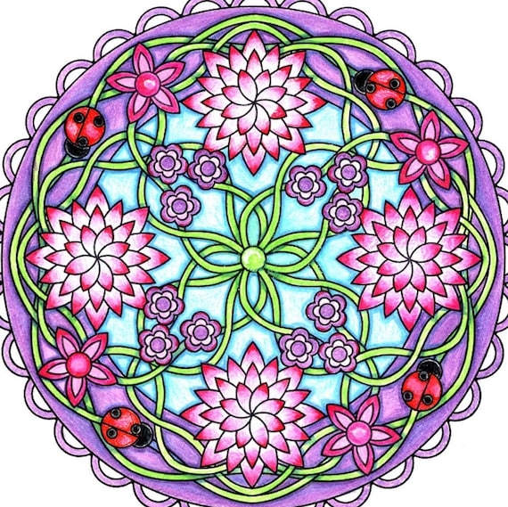 Items similar to Flower Mandala Coloring Page to Print and Color ...