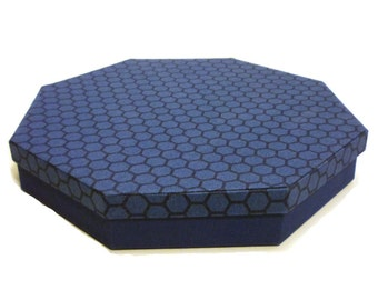 Octagon Cloth Covered Box, fabric covered box, jewelry box , cartonnage, treasure box, keepsake, item storage,