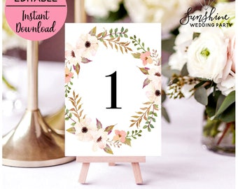 Floral Wedding Table Numbers Table Number Cards Printable Table Numbers Reception Signs Templates Editable PDF Instant Digital Download