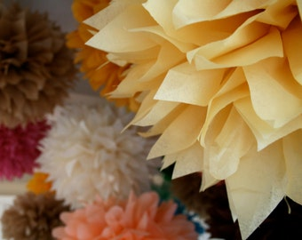 CUSTOM COLORS / 5 tissue paper pompoms / wedding ceremony arch arbor decorations / first birthday party decor / baby girl boy shower poms