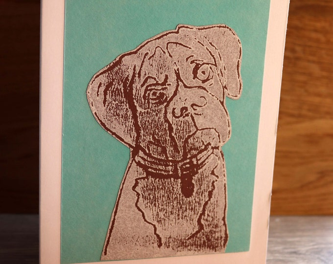 Boxer Dog Greeting Card, Blank inside, Hand printed & paper cut on to green background, love dogs, pooch, fur baby, pet, woof, Birthday.
