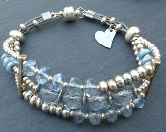 Bracelet blue and silver, glass, beads faceted blue Bohemian MULTISTRAND bracelet, bracelet, cuff bracelet