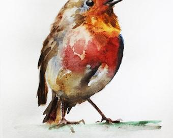 Print of Watercolor Painting, Robin art, Bird art, bird watercolor, Gift for her, Red decor, for mom gift, Print Art, pet gift, art OOAK