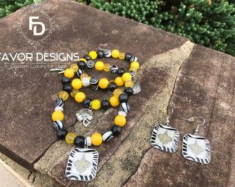 Custom New Orleans Saints Bracelets/Earring Set
