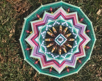 Transitions, an 18-inch, 12-sided ojo de dios, by custom order
